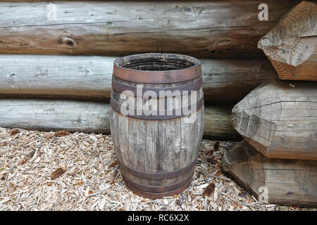 Old wooden barrel at Fort Clatsop - Stock Photo