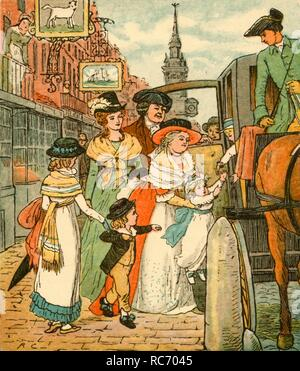 """John Gilpin sees his family off in a chaise-and-pair, 1878, (c1918). Mrs Gilpin, her sister and their children set off for Edmonton. There is no room in the carriage so Gilpin will ride there on his horse. The spire of St Mary-le-Bow on Cheapside in the City of London is clearly visible behind them. John Gilpin was the subject of a comic ballad of 1782 by William Cowper entitled """"The Diverting History of John Gilpin"""". The ballad, based on real-life character, describes how, on a journey to Edmonton (north in London), Gilpin, a draper, became separated from his wife and children after - Stock Photo"""