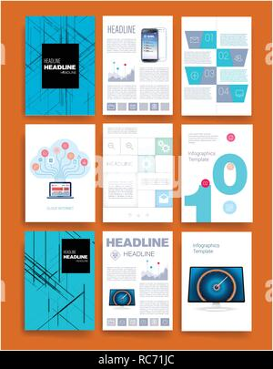 Brochure creative design. Multipurpose template with cover, back and inside pages. Trendy minimalist flat geometric design. Vertical a4 format. - Vect - Stock Photo