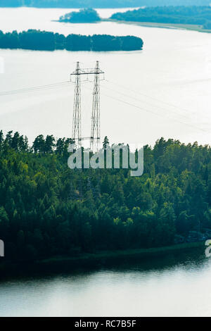 Aerial view of electricity pylon in forest - Stock Photo