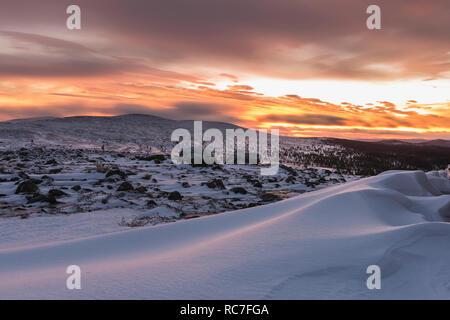 Winter landscape at sunset - Stock Photo