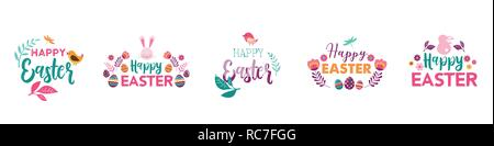 Happy Easter, vector symbols, logo, badges and lettering design - Stock Photo
