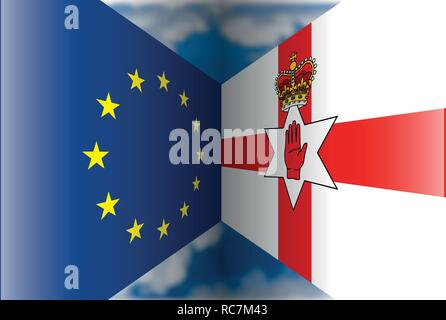 European Union versus North Ireland flags, vector illustration - Stock Photo