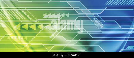 Green and blue abstract technology sci-fi wavy banner. Vector header background - Stock Photo
