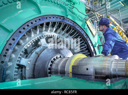 Engineer inspecting generator in nuclear power station during outage - Stock Photo
