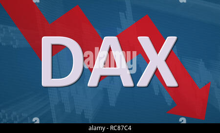 The German blue chip stock market index DAX is falling. The red zig-zag arrow behind the word DAX on a blue background with a stock market chart shows... - Stock Photo