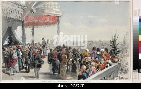 Public festivities following the coronation of Emperor Alexander III on Khodynka Field. Museum: PRIVATE COLLECTION. Author: Makovsky, Vladimir Yegorovich. - Stock Photo