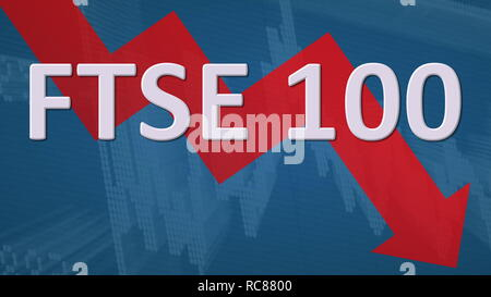 The British stock market index FTSE 100 is falling. The red zig-zag arrow behind the word FTSE 100 on a blue background with a chart shows downwards,... - Stock Photo