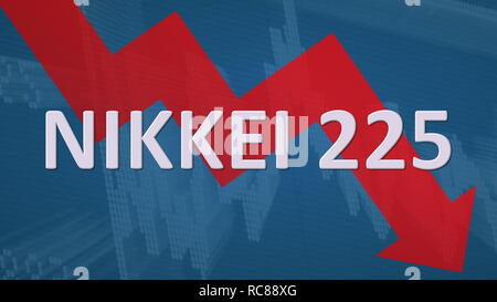 The Japanese stock market index Nikkei 225 is falling. A red zig-zag arrow behind the word Nikkei 225 on a blue background with a chart shows downward... - Stock Photo