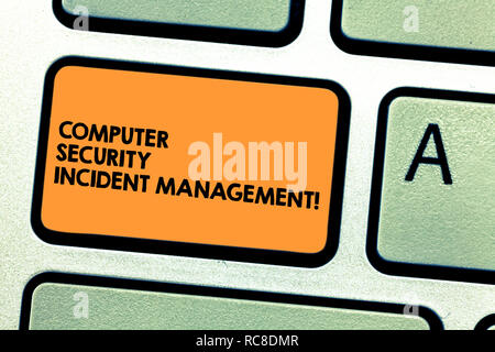 Handwriting text Computer Security Incident Management. Concept meaning Safe cyber technology analysisaging Keyboard key Intention to create computer  - Stock Photo