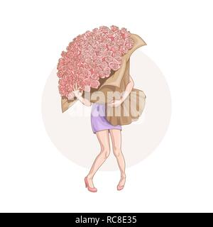 March 8. Happy Women's Day. Funny vector illustration of cartoon style young woman with huge bouquet of roses showing that she is Ok for your design - Stock Photo