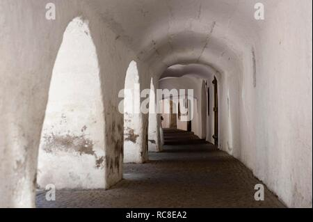 In the Lauben, Laubengasse, Old Town, City of Glurns, Glorenza, Vinschgau, Val Venosta, South Tyrol, Alto Adige, Italy - Stock Photo