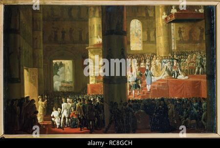 The Coronation of the Empress Maria Feodorovna on 5th April 1797. Museum: State Russian Museum, St. Petersburg. Author: VERNET, HORACE. - Stock Photo