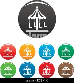 Circus carousel icons set 9 color vector isolated on white for any design - Stock Photo