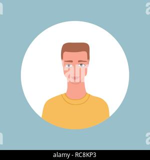 Young adult portrait Handsome Caucasian man icon - Stock Photo