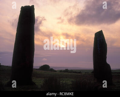 The two western stones of Circle 2 Prehistoric stone circle, Machrie Moor, Tormore, Isle of Arran, Scotland. Late evening sky at midsummer. - Stock Photo