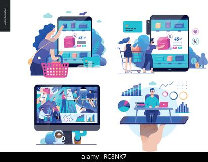 Business series set, color 2 -modern flat vector concept illustrated topics - buy online shop, about the company - office life, online expert - consul - Stock Photo