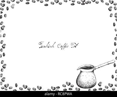 Turkish Cuisine, Cezve or Turkish Coffee Pot with Coffee Beans. One of The Popular Drink in Turkey. - Stock Photo