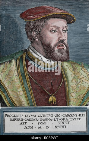 Charles V (1500-1558). Holy Roman Emperor. Portrait. Engraving by Germania, 1882. - Stock Photo