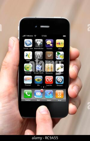 Iphone, smart phone, apps on the screen - Stock Photo