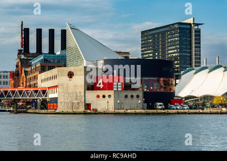 Marine Mammal Pavilion, National Aquarium, Inner Harbor, Patapsco River, Baltimore, Maryland USA - Stock Photo