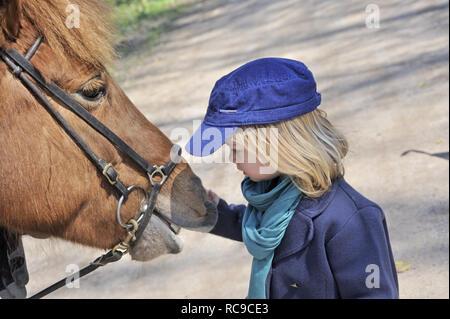kleines Kind streichelt Pferd, 2 Jahre alt | little child strokes horse, 2 years old - Stock Photo