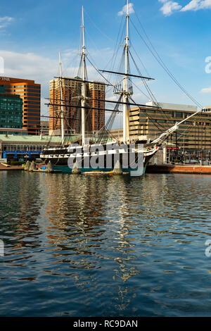 USS Constellation sloop-of-war, Inner Harbor, Patapsco River, Baltimore, Maryland USA - Stock Photo