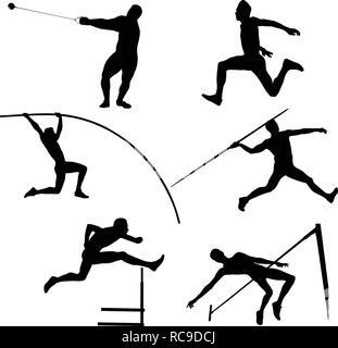 set group athletes men athletics black silhouette - Stock Photo