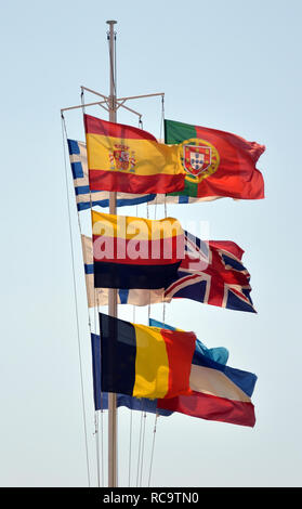 Collection of European flags waving together - Stock Photo