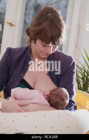 Junge Mutter stillt ihre neugeborene Tochter, das Kind ist 12 Tage alt | young mother nursing her new born baby - the baby ist 12 days old. child, chi Stock Photo