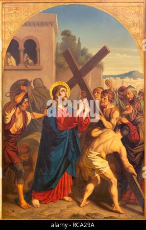 PRAGUE, CZECH REPUBLIC - OCTOBER 15, 2018: The painting Jesus caries his cross in church Bazilika svatého Petra a Pavla na Vyšehrade - Stock Photo