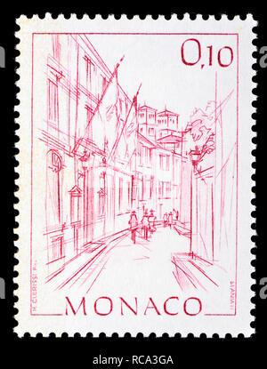 Monaco postage stamp (1984): Early Views of Monaco definitive series: City hall / Hotel de Ville - Stock Photo