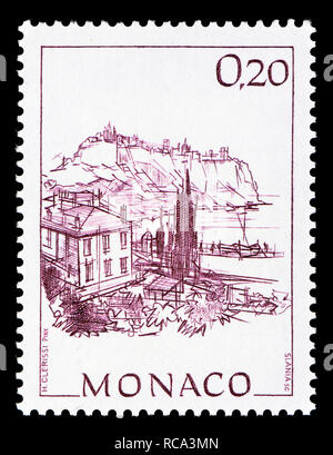 Monaco postage stamp (1991): Early Views of Monaco definitive series: Rock of Monaco and harbour of Fontvieille - Stock Photo
