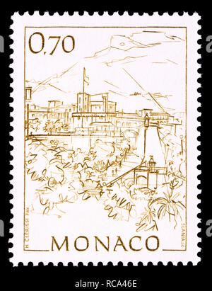 Monaco postage stamp (1991): Early Views of Monaco definitive series: Princes palace and Rampe Major - Stock Photo