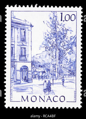 Monaco postage stamp (1991): Early Views of Monaco definitive series: Place d'Armes - Stock Photo