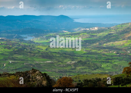 A view of green farmland after winter rain towards Polis and Latchi, Cyprus. - Stock Photo