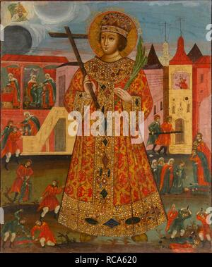 Tsarevich Demetrius with Murder Scenes. Museum: State Museum of Architecture, History and Art, Vladimir. Author: Russian icon. - Stock Photo