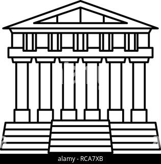 Greek temple icon, outline style - Stock Photo