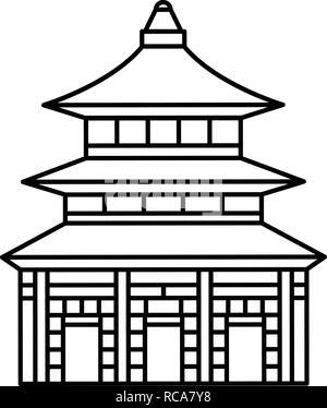 Asia temple icon, outline style - Stock Photo