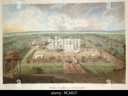 A view of the Red Fort Palace in Delhi (mostly imaginary) from the top of the Lahore Gate, with the river Jumna beyond. Hastings Albums. 1815. watercolour. Source: Add.Or.4826. Language: English. Author: SITA RAM. - Stock Photo
