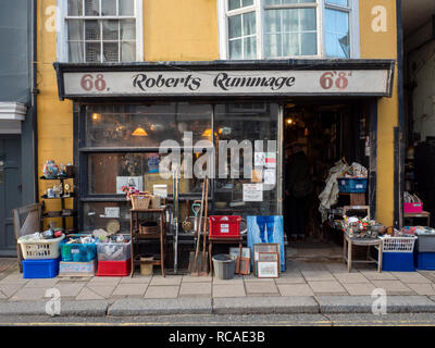 Roberts Rummage secondhand shop in old hastings Town East Sussex UK - Stock Photo