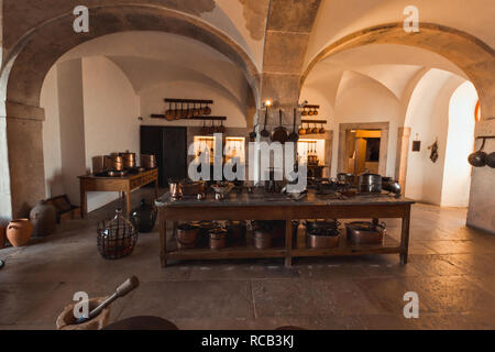 The kitchen of the Pena palace, Sintra, Portugal - Stock Photo