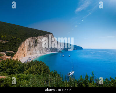 Amazing views of crystal clear milky blue waters of exotic Lefkada beaches and breathtaking cliffs in Greece. - Stock Photo