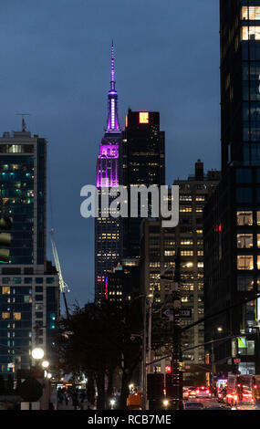 New York City, United States - November 17 2018:   The Empire state building lit in Purple seen between other skyscrapers As seen from 12th Avenue - Stock Photo