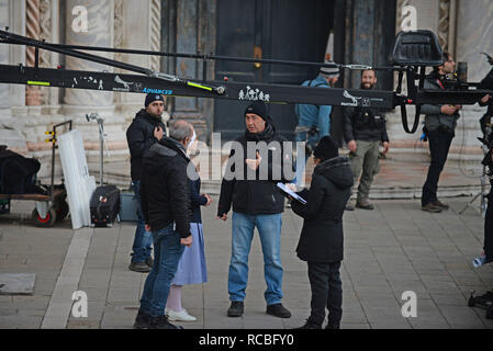Venice, Italy. 14th January, 2019. The Oscar-winning Italian director Paolo Sorrentino on the set of the TV movie 'The New Pope', in San Giovanni and Paolo square, Venice, 14 January 2019. Andrea Merola / Awakening / Alamy Live News - Stock Photo