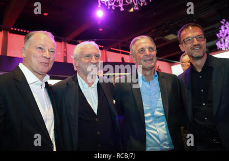 Frankfurt, Germany. 15 January 2019, Stefan Reuter (l-r), Manager of FC Augsburg, Rudi Völler, Managing Director Sport of Bayer 04 Leverkusen, Eintracht legend Karl-Heinz-Körbel and Fredi Bobic, Sports Director of Eintracht Frankfurt Fußball AG, will take part in the New Year's Reception of the German Football League (DFL). Photo: Arne Dedert/dpa Credit: dpa picture alliance/Alamy Live News - Stock Photo