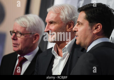 Frankfurt, Germany. 15 January 2019, Rudi Völler (M), Sports Director of Bayer 04 Leverkusen, is welcomed at the New Year's Reception of the German Football League (DFL) by Christian Seifert (r), DFL Managing Director, and Reinhard Rauball, DFL President. Photo: Arne Dedert/dpa Credit: dpa picture alliance/Alamy Live News - Stock Photo