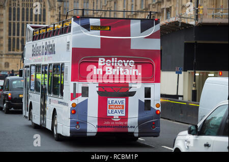 """Westminster, London, UK. 15 January, 2019. Demonstrators outside the Houses of Parliament on the day the """"meaningful vote"""" is voted upon for approval or rejection of Theresa May's Brexit deal. Credit: Malcolm Park/Alamy Live News. - Stock Photo"""