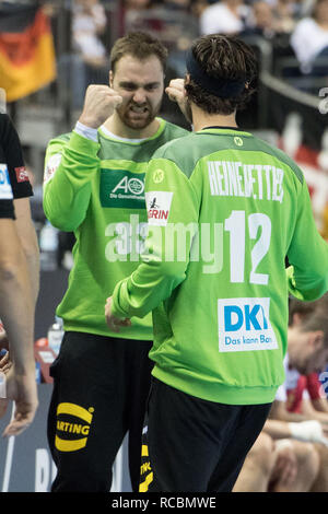 Goalkeeper Andreas WOLFF (left, GER) celebrates with goalkeeper Silvio HEINEVETTER (GER). half figure, half figure, portrait, jubilation, cheering, exulting, joy, cheers, celebrate, preliminary round Group A, Russia (RUS) - Germany (GER) 22:22, on 14.01.2019 in Berlin / Germany. Handball World Cup 2019, from 10.01. - 27.01.2019 in Germany and Denmark. | Usage worldwide - Stock Photo
