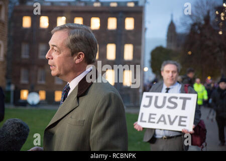 London, UK. 15th January, 2019. Nigel Farage talks to the media on College Green Credit: George Cracknell Wright/Alamy Live News - Stock Photo